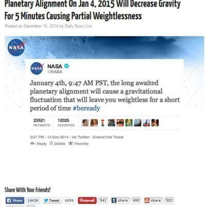 Le hoax qui a trompé des milliers de personnes: 5 minutes d'apesanteur le 4 janvier