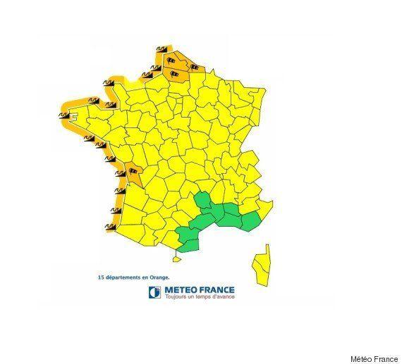 Météo France place 15 départements en vigilance orange pour vents violents ou