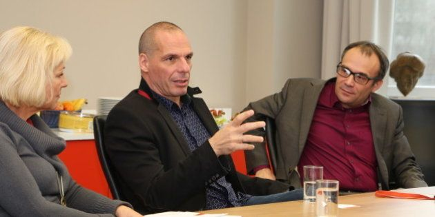 Yannis Varoufakis and Srećko Horvat visiting the Rosa-Luxemburg-Stiftung in Berlin to talk about the...