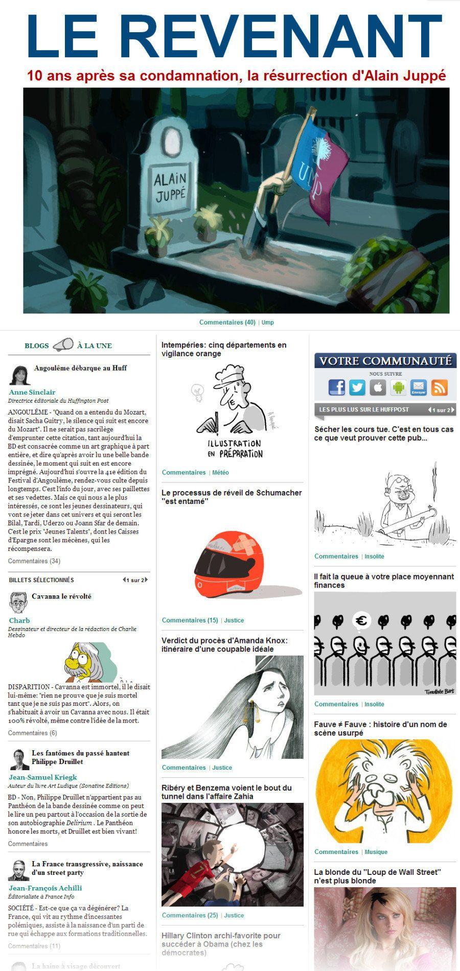 Angoulême 2014: Revivez les Unes du HuffPost illustrées toute une journée par des auteurs de