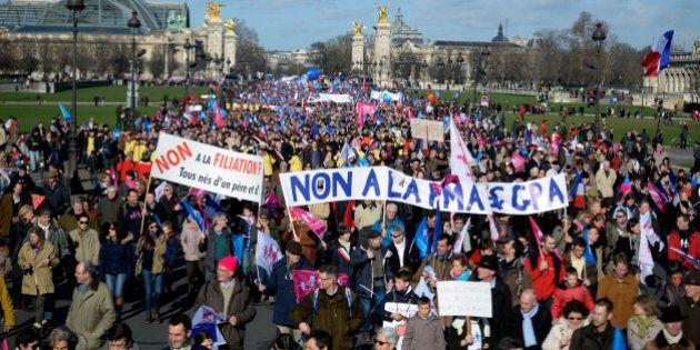Manif pour tous : des milliers de manifestants défilent à Paris et