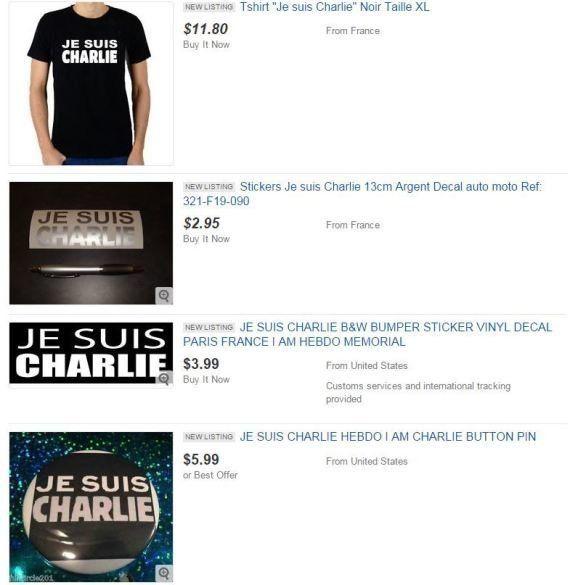 Charlie Hebdo sur eBay: anciens numéros et produits dérivés