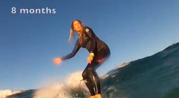 VIDÉO. Une femme enceinte se filme en train de surfer tout au long de sa