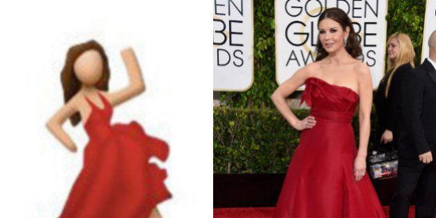 PHOTOS. Aux Golden Globes 2015, Catherine Zeta Jones comparée à l'emoji danseuse sur le tapis