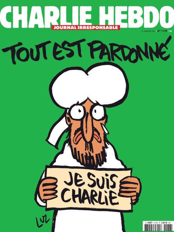 La couverture de Charlie Hebdo, un dessin de Mahomet avec une pancarte