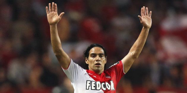 Monaco's Colombian forward Radamel Falcao celebarates after scoring a goal during the French L1 football...