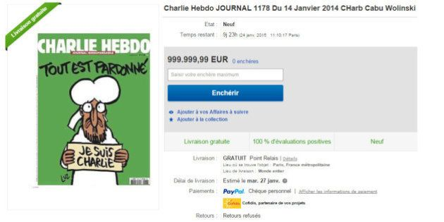 Charlie Hebdo du 14 janvier : Price Minister et Le Bon Coin interdisent la revente du numéro à prix