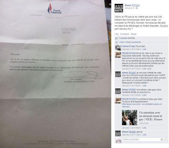 Il demande au FN de ne pas accepter les homosexuels, un conseiller de Marine Le Pen lui répond d'aller...