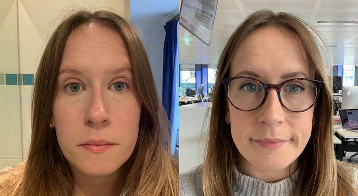 L-R: Wearing just the Aldi concealer in the morning compared to a midday check-in where under eye bags are starting to slightly peep through.
