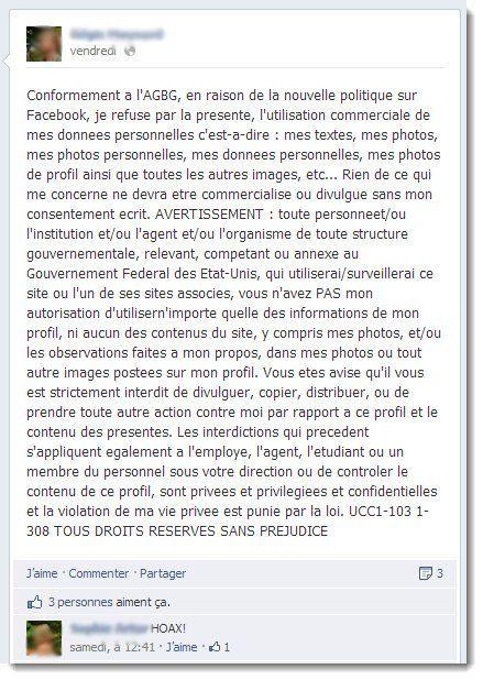 Facebook: une rumeur sur les changements de la politique de confidentialité