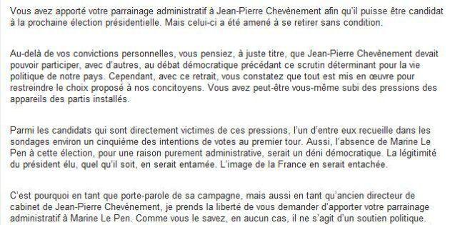 Marine Le Pen veut récupérer les parrainages de
