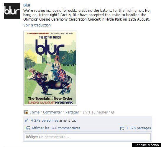 Blur sera la tête d'affiche du concert de clôture des Jeux Olympiques de