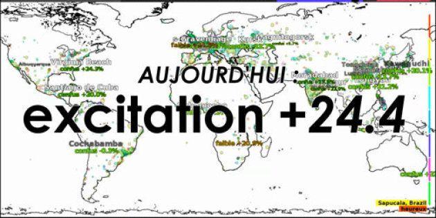 La Bastille, 6 mai 2012: Maurice Benayoun livre la météo des émotions de la France en temps