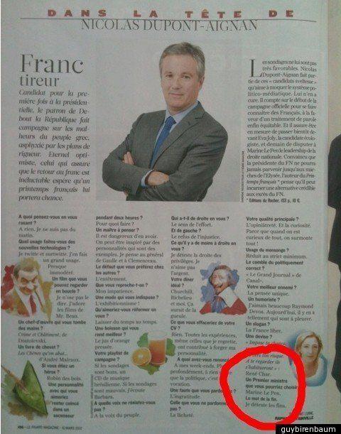 Nicolas Dupont-Aignan nommerait Marine Le Pen au poste de Premier ministre en cas de