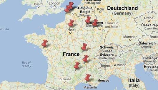 La carte interactive des sites français
