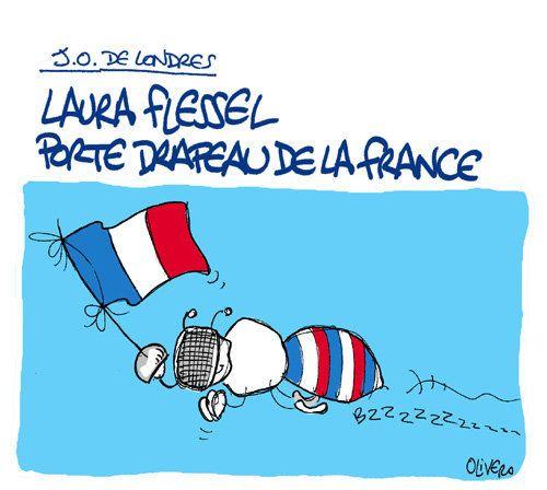 Laura Flessel porte-drapeau français aux J.O. de