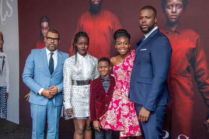 "From left, Jordan Peele with ""Us"" cast Lupita Nyong'o, Evan Alex, Shahadi Wright Joseph and Winston Duke."