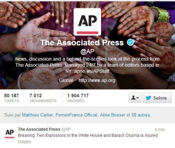 Piraté, le compte Twitter de l'agence AP annonce deux explosions à la Maison Blanche et fait chuter le...