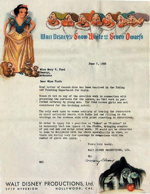 Disney: une lettre de réponse sexiste datant de 1938