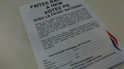 Des tracts du FN appelant à voter PS contre