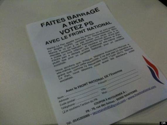 Des tracts du FN appelant à voter PS contre Nathalie