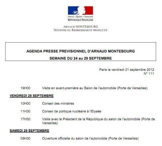 Salon de l'auto: des salariés de PSA et Ford manifestent pour l'ouverture, Arnaud Montebourg