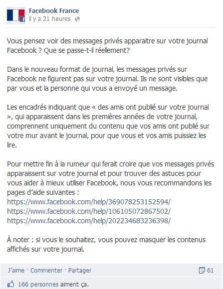 Facebook France veut mettre fin à la rumeur du bug des messages