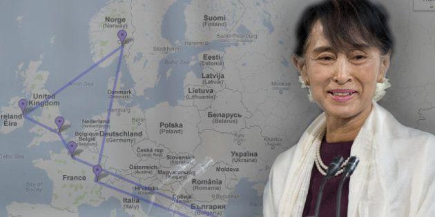 Aung San Suu Kyi à Paris : la carte de sa tournée historique qui