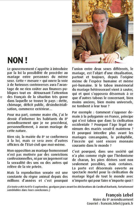 Le maire UMP du 8e François Lebel s'oppose au mariage gay et craint