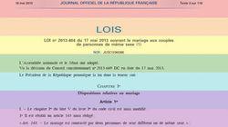 La loi sur le mariage homosexuel promulguée au Journal