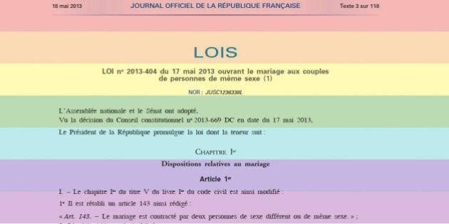 Mariage gay: la loi sur le mariage homosexuel promulguée au Journal officiel, au lendemain de la validation...