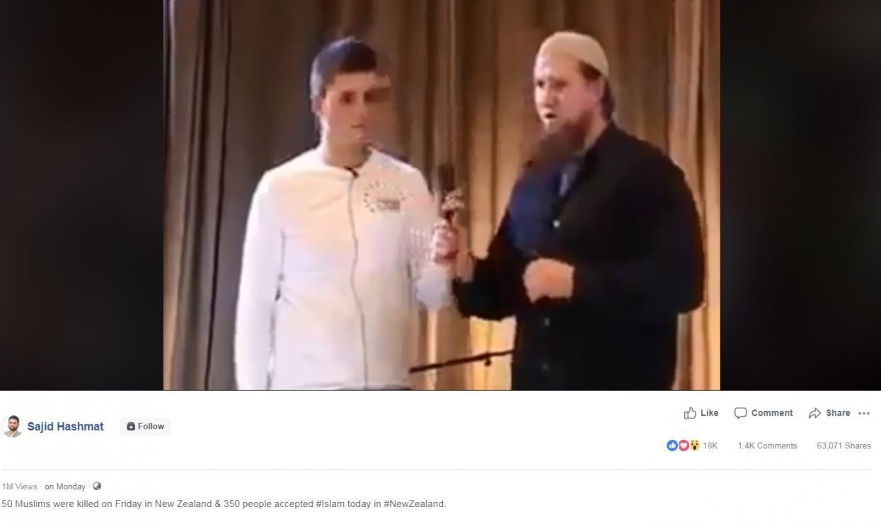 Cette vidéo de conversions massives à l'Islam après l'attaque de Christchurch n'est pas