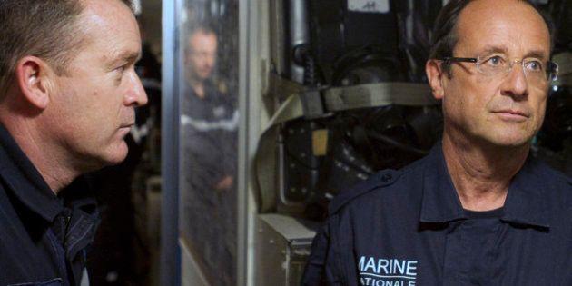 Hollande à bord du sous-marin nucléaire Le