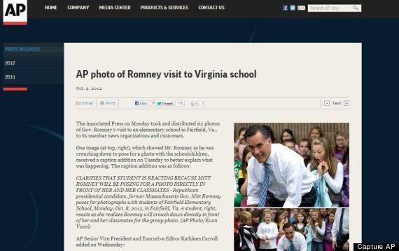 PHOTO. Associated Press s'excuse pour la photo de Mitt Romney et