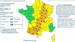 Orages : 25 départements placés en alerte
