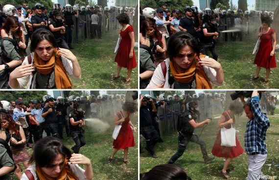 La femme en rouge, égérie de la contestation en