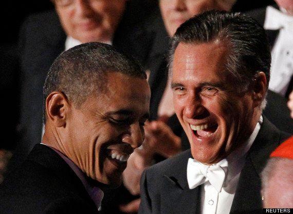 VIDÉOS. À un gala, Obama et Romney se moquent l'un de l'autre... et