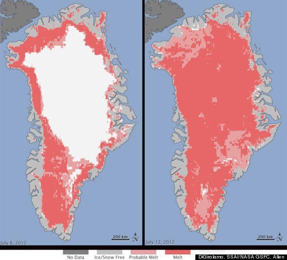 La calotte glaciaire du Groenland a fondu comme jamais au mois de juillet, selon la