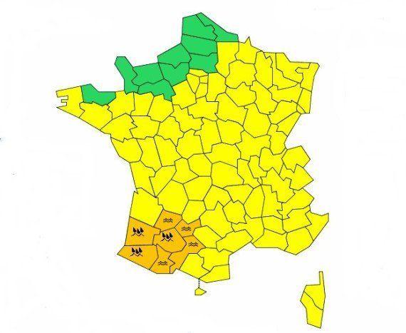 Météo: sept départements du sud-ouest en vigilance orange pluies et