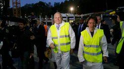 Jean-Marc Ayrault sur un chantier de nuit pour parler retraites et