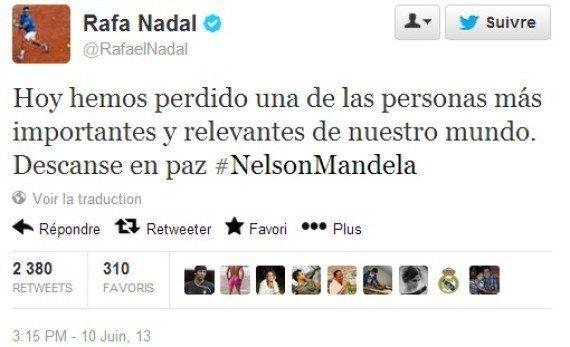 Persuadé que Mandela est mort, Rafael Nadal lui rend