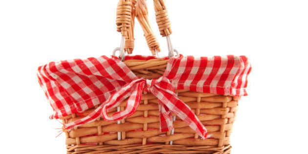cheerful cane basket for picnic