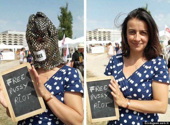 PHOTO. Cécile Duflot défend les Pussy Riot lors des Journées d'été