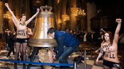 Les Femen fêtent le départ du pape à