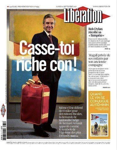 Libération: la Une du journal de ce lundi 10 septembre, avec Bernard Arnault, suscite quelques