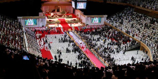 PHOTOS. Corée du Sud: 30.000 fidèles en larmes aux obsèques du gourou Sun Myung