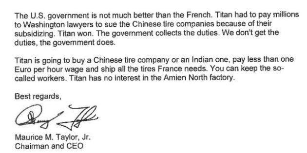 La lettre incroyable adressée à Arnaud Montebourg par le PDG de Titan et révélée par