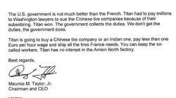 La lettre surréaliste du PDG de Titan adressée à