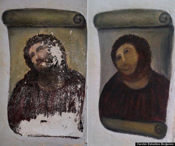 Ecce homo : Cecilia Gimenez, l'artiste octogénaire à l'origine de la restauration du Christ de Borja,...
