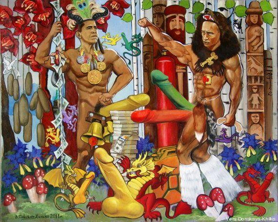 Poutine et Obama peints nus: le tableau saisi et un musée fermé à